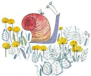 This guy is from 'Bug Garden' due to publish March 2016 with Candlewick press. This ACTUAL pic won't be in it though. Boo. But a similar snail will be. Wayhay!